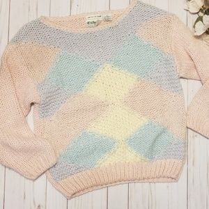 Vintage Korean Hand Knitted Pastel Sweater